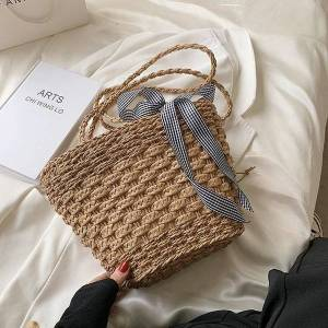 DHgate evening bags luxury woven messenger bag 2021 brand fashion western style straw large capacity one-shoulder tote