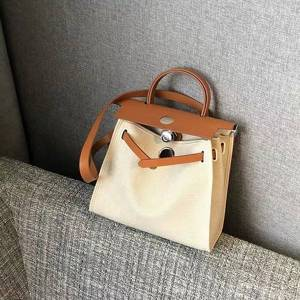 75% off luxury handbag 2021 new canvas fashion leisure women's shoulder portable with cowhide women's bag b2me