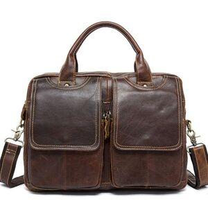 DHgate briefcases men's genuine leather shoulder lapbag business office bags folder for a4 documents male k056