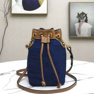 DHgate 7a+ ladies mini pochette accessoires drawstring colorful fi letter embossing printing denim canvas leather bucket bag fashion shoulder ba