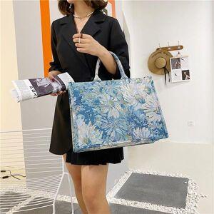 DHgate evening bags painting flower large canvas tote 2021 summer trends women's designer handbag high capacity to handle shoulder