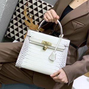 DHgate 75% off luxury h25cm 28cm alligator women's trend versatile one shoulder diagonal leather handbag j2ln