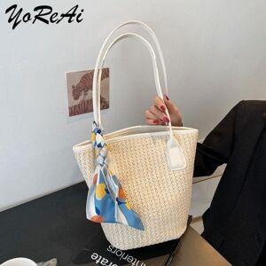 DHgate evening bags yoreai casual straw women shoulder wicker woven handbags rattan summer beach bag large capacity tote lady big purses shoppe