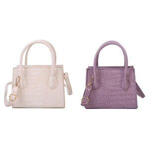 DHgate evening bags 2x small women's bag pure color handle shoulder lady pu leather square crossbody messenger purple/beige