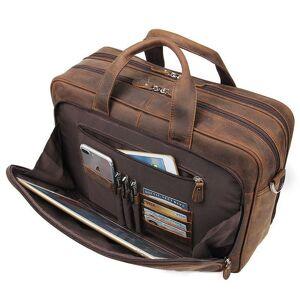 DHgate briefcases nesitu large brown black coffee genuine leather briefcase male portfolio 15.6'' 17'' lapbusiness travel men m