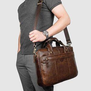 DHgate briefcases men's leather briefcase, a4 paper bag, shoulder lap15 business travel bags