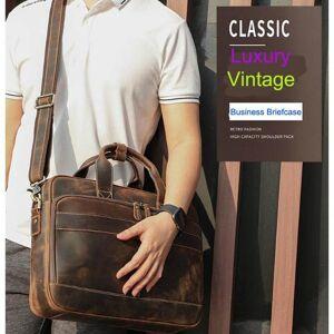 "DHgate luxury italian cowhide leather briefcase men business handbag shoulder travel lapbag 15.6"" large capacity ykk metal zippers briefcases"