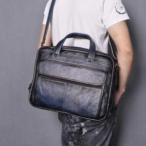 DHgate briefcases men leather antique blue fashion travel briefcase business 15.6