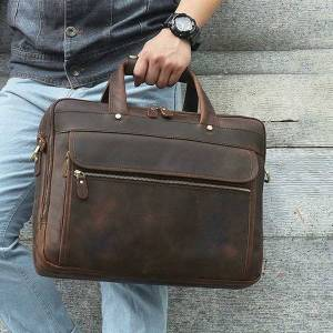 DHgate vintage genuine leather 15.6'' lapbag crazy horse leather briefcase for mens business travel messenger bags