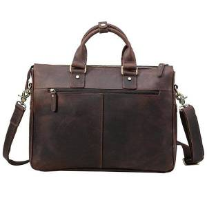 DHgate tiding handmade leather briefcase 15.6'' lapdocument bag men's handbag vintage messenger shoulder bags brown 1096