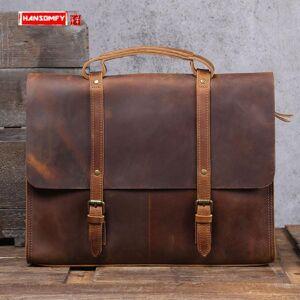 DHgate briefcase men's handbag 15.6 inch lapbag shoulder messenger file bags british first layer cowhide vintage simple leather
