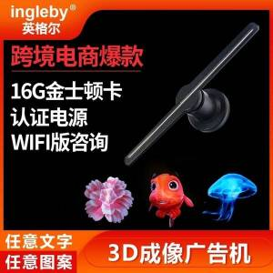 DHgate ingel 3d holographic imaging fan 16g full-color stereo projection advertising display lamp certification power supply