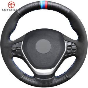 DHgate black genuine leather suede car steering wheel cover for bmw f20 f21 f22 f23 118i 120i 125i 218i 228i 420i 430i 435i