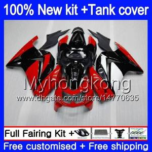 DHgate +tank for kawasaki ex-250 zx250r 2008 2009 2010 2011 2012 201my.56 ex250 zx 250r ex 250 zx-250r ex250r 08 09 10 11 12 fairing cool red black