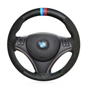DHgate custom hand-stitch leather car steering wheel cover for bmw e90 320i 120d
