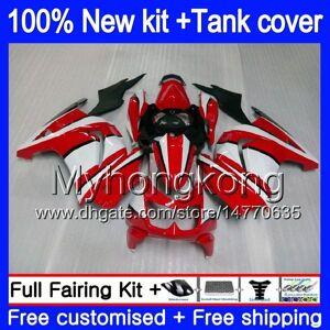 DHgate +tank for kawasaki zx-250r ex-250 zx250r 08 09 10 11 12 201my.21 ex250 zx 250r ex 250 ex250r 2008 2009 2010 2011 2012 red white fairings