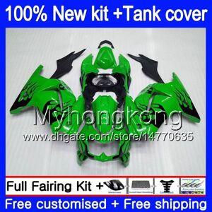 DHgate +tank for kawasaki zx-250r ex-250 zx250r 08 09 10 11 12 201my.8 black flames ex250 zx 250r ex 250 ex250r 2008 2009 2010 2011 2012 fairings