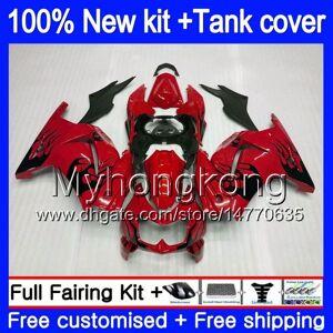 DHgate +tank for kawasaki ex-250 zx250r 2008 2009 2010 2011 2012 201my.44 ex250 zx 250r ex 250 zx-250r ex250r 08 09 10 11 12 fairing red blk flames