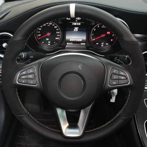 DHgate black suede black natural leather white marker car steering wheel cover for mercedes-benz c180 c200 c260 c300 b200