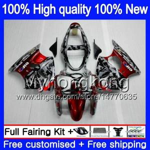 DHgate body for kawasaki zx 600 cc 6 r zx636 zx-6r 2000 2001 2002 212my.0 zx 636 600cc zx 6r zx-636 zx600 zx6r 00 01 02 fairings kit camouflage red