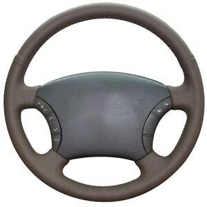 DHgate custom made diy anti slip dark brown leather car steering wheel cover for toyota land cruiser prado 120