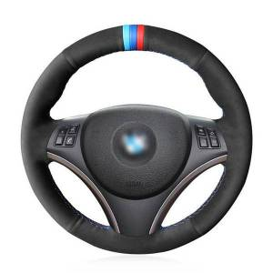DHgate m stripe black suede leather car steering wheel cover for bmw e90 320i 120d 325i