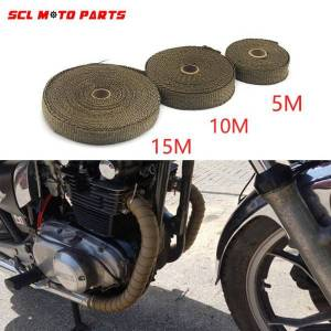 DHgate alconstar-racing motorcycle 1.5mm*25mm*5m/10m/15m incombustible turbo manifold heat exhaust wrap tape thermal stainless tiles
