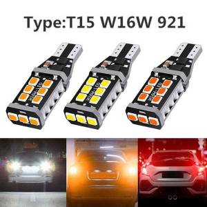 DHgate 1pair t15 w16w 15smd 2835 led canbus super bright no error car tail bulb brake light auto reverse lamp turn signals