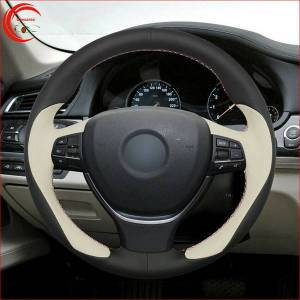 DHgate hand-stitch black white leather car steering wheel cover for bmw f10 f11 f07 f12