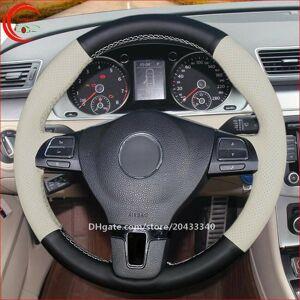 DHgate white black leather car steering wheel cover for vw passat cc golf touran tiguan