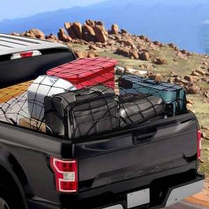 DHgate car organizer universal trunk luggage storage cargo organiser net hooks interior 120x90cm with auto mesh elastic accessories nets p7t2