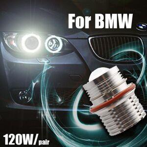 DHgate car headlights 2pcs 120w bright lamp white led angel eyes marker lights bulbs for e87 e39 m5 e60 e61 e63 e64 m6 e65 e66 e83 x3 e53 x5 00