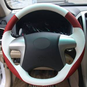 DHgate red white genuine leather hand-stitched car steering wheel cover for toyota highlander toyota camry 2007-2011