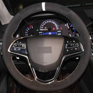 DHgate black suede white marker diy hand-stitched car steering wheel cover for cadillac ats 2013-2015 cts 2014-2016