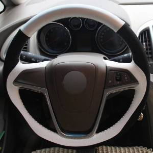 DHgate white genuine leather black suede hand-stitched car steering wheel cover for buick excelle xt gt encore opel mokka