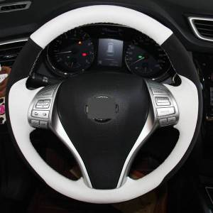 DHgate white genuine leather black suede steering wheel cover for nissan teana altima 2013-2016 x-trail qashqai rogue 2014-2016 sentra