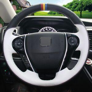 DHgate black white genuine leather steering wheel cover for honda accord 9 odyssey crosstour 2013-2016