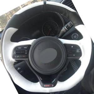 DHgate black white genuine leather diy hand-stitched steering wheel cover for kia k5 2016 (sport) sportage 4 kx5 2016