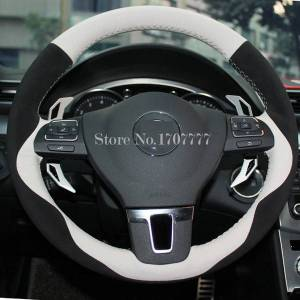 DHgate white genuine leather black suede car steering wheel cover for volkswagen vw gol tiguan passat b7 cc touran magotan jetta