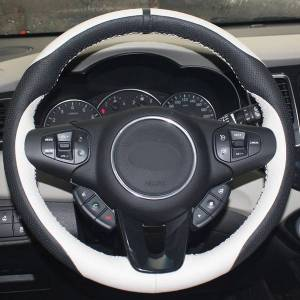 DHgate white black genuine leather hand-stitched car steering wheel cover for kia carens 2012 2013