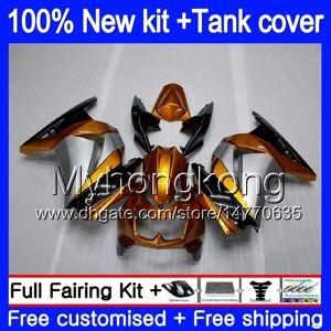 DHgate +tank for kawasaki ex-250 zx250r 2008 2009 2010 2011 2012 201my.52 ex250 zx 250r ex 250 zx-250r ex250r 08 09 10 11 12 fairing golden silver