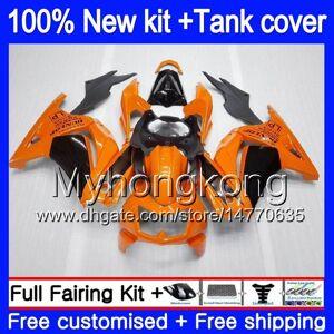 DHgate +tank for kawasaki zx-250r ex-250 zx250r 08 09 10 11 12 201my.33 ex250 zx 250r ex 250 ex250r 2008 2009 2010 2011 2012 fairings orange black