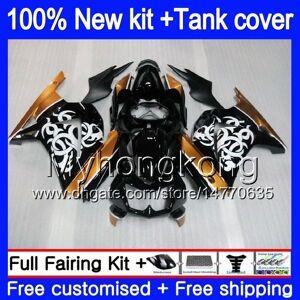 DHgate +tank for kawasaki ex-250 zx250r 2008 2009 2010 2011 2012 201my.51 ex250 zx 250r ex 250 zx-250r ex250r 08 09 10 11 12 gold black fairing