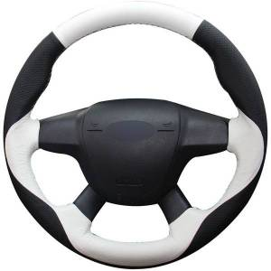 DHgate black natural leather white natural leather car steering wheel cover for ford focus 3 2012-2014 kuga escape 2013-2016