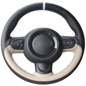 DHgate black natural leather beige natural leather white marker car steering wheel cover for mini coupe