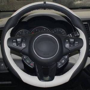 DHgate black natural leather white natural leather car steering wheel cover for kia carens 2012 2013