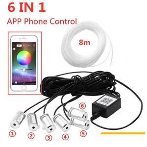 DHgate 6 in 1 8m sound active el neon strip light rgb led car interior light multicolor bluetooth phone control atmosphere 12v