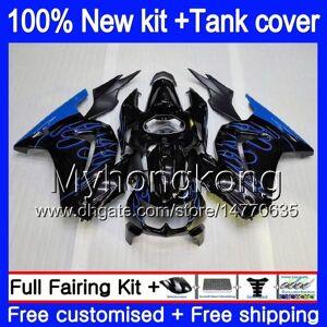 DHgate +tank for kawasaki ex-250 zx250r 2008 2009 2010 2011 2012 201my.aa blue flames ex250 zx 250r ex 250 zx-250r ex250r 08 09 10 11 12 fairing