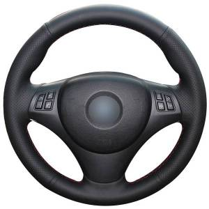 DHgate hand sewing custom black leather car steering wheel cover for bmw e90 320i 325i 330i 335i e87 120i 130i 120d