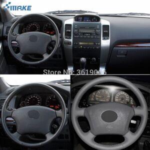 DHgate smrke for toyota land cruiser prado 120 hand-stitched anti-slip gray leather gray thread diy steering wheel cover